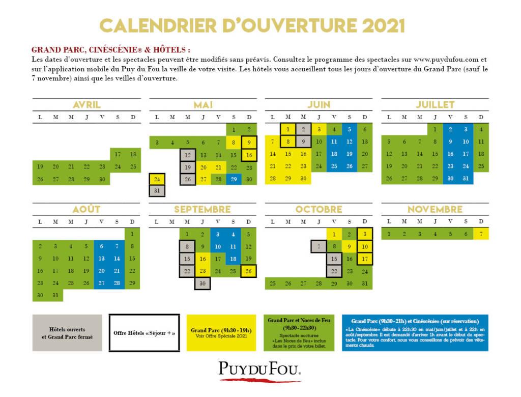 Puy du Fou - Calendrier d'ouverture 2021